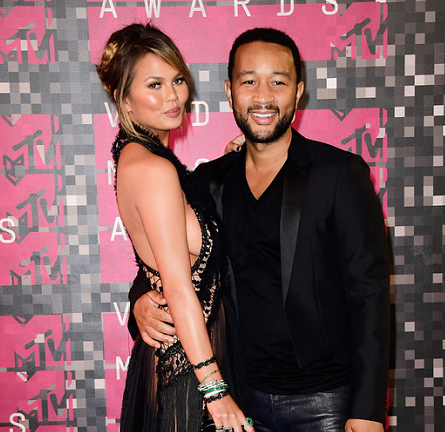 Chrissy Teigen in Marchesa & John Legend in Dior Homme | MTV VMAs 2015