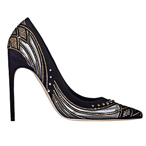 Brian Atwood 'ALIS' Black and Gold Studded Pumps