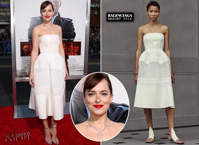 Dakota Johnson in Balenciaga | 'Black Mass' Boston Premiere