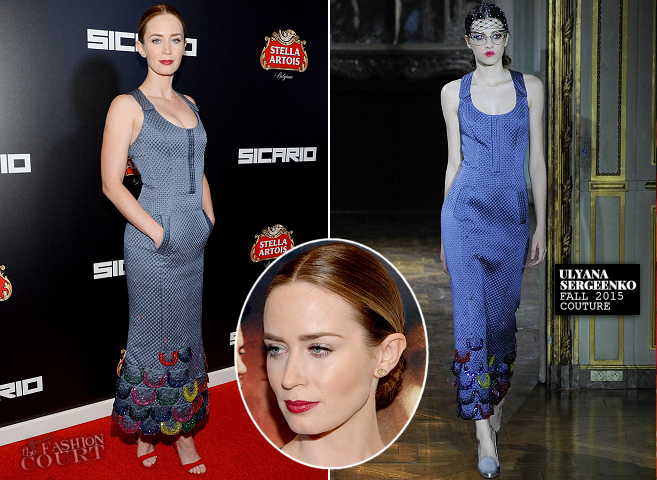 Emily Blunt in Ulyana Sergeenko Couture | 'Sicario' NYC Premiere