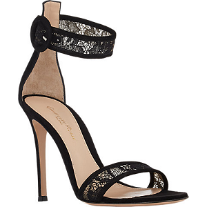 Gianvito Rossi Lace-Inset Ankle-Strap Sandals