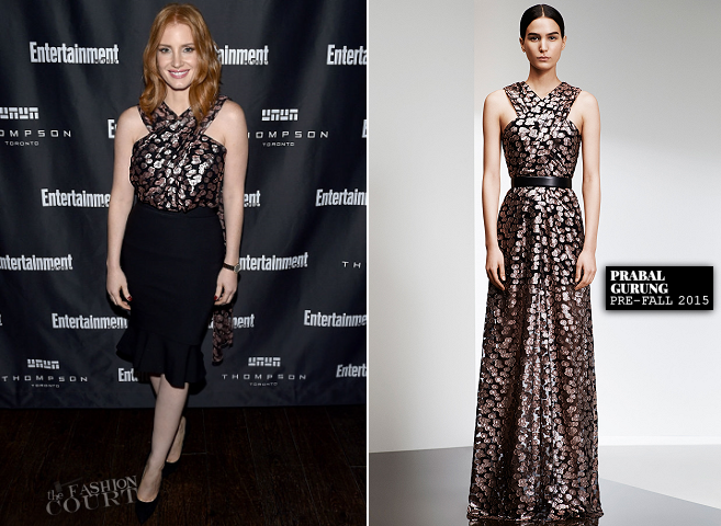 Jessica Chastain in Prabal Gurung | EW's Must List Party - 2015 Toronto International Film Festival