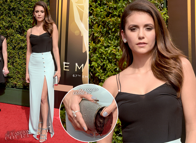 Nina Dobrev in Mugler | 2015 Creative Arts Emmy Awards