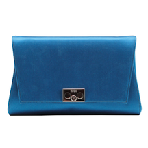 Rodo Teal Satin Clutch with Gunmetal Hardware