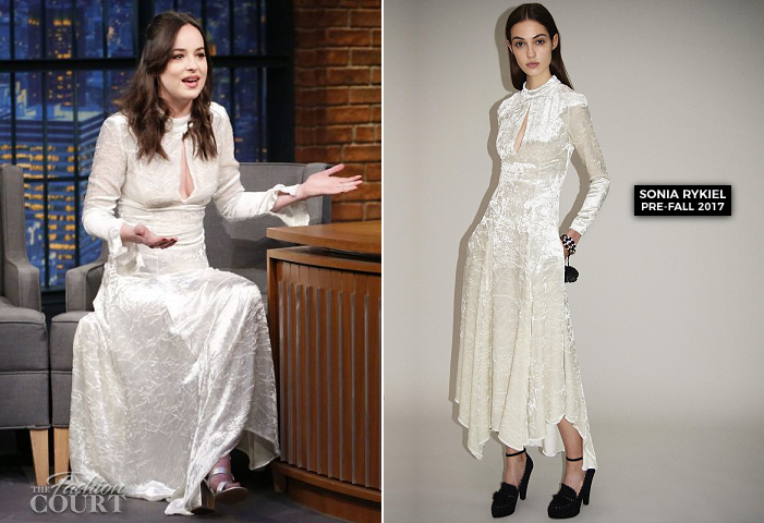 Dakota Johnson in Sonia Rykiel | 'Late Night with Seth Meyers'