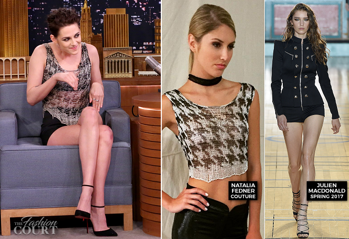 Kristen Stewart in Natalia Fedner & Julien Macdonald | 'The Tonight Show Starring Jimmy Fallon'