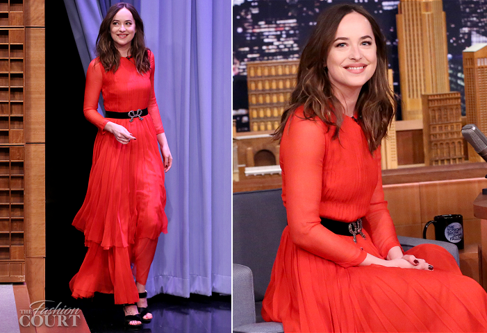 Dakota Johnson in Gucci | 'The Tonight Show starring Jimmy Fallon'