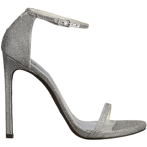 Stuart Weitzman 'Nudist' Sandals in Silver Noir